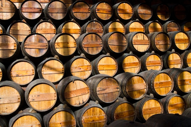 Botti di vino in legno su una cantina Foto Premium