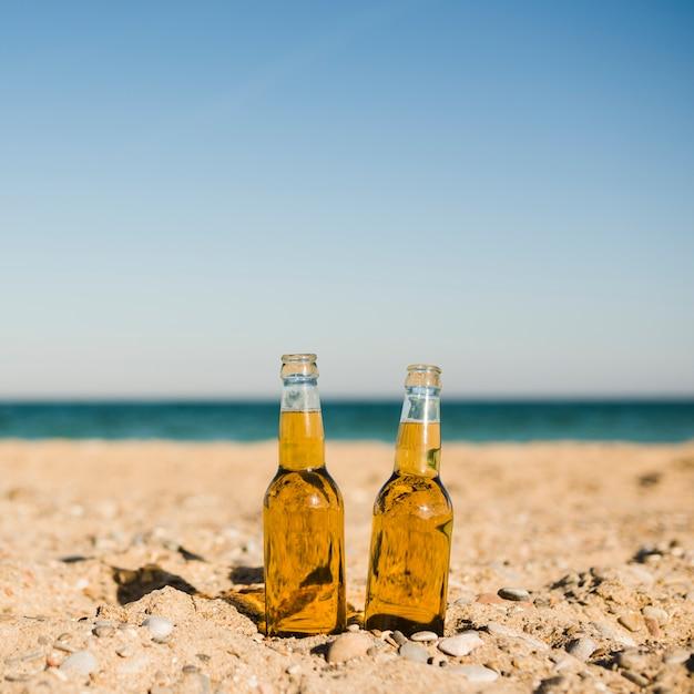 Bottiglie di birra trasparenti nella sabbia alla spiaggia contro il chiaro cielo Foto Gratuite