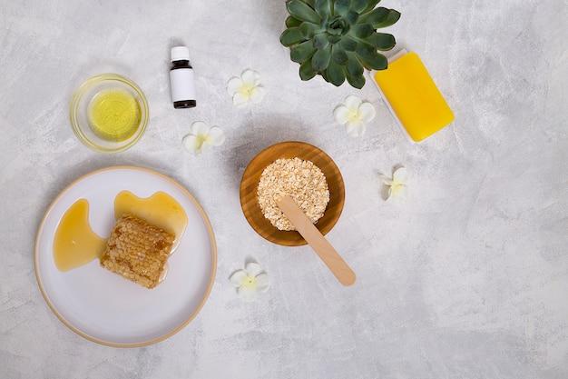 Bottiglie di olio essenziale; avena; pianta di cactus; sapone giallo e nido d'ape su sfondo concreto Foto Gratuite