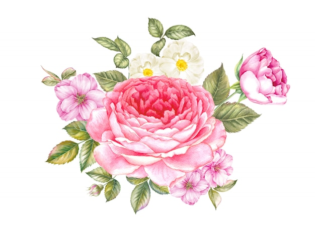 Bouquet di fiori di rosa e peonia. Foto Premium