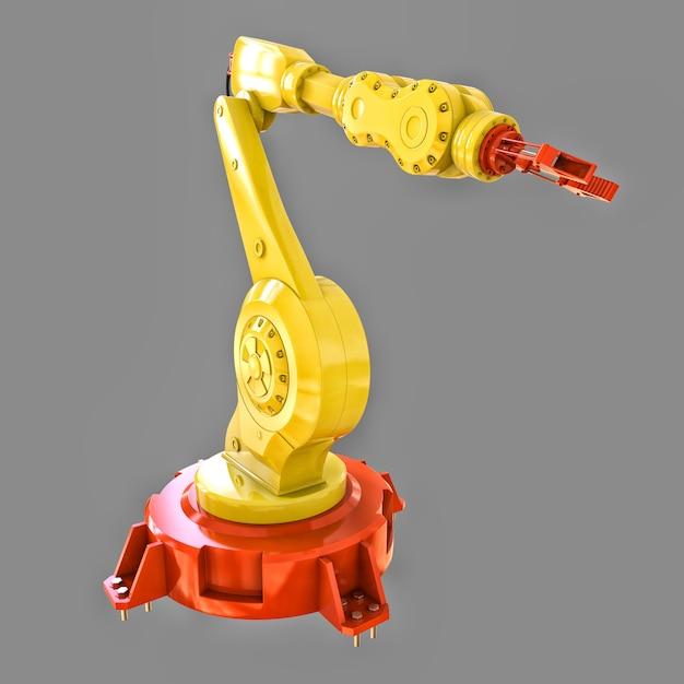 Braccio robotizzato giallo per qualsiasi lavoro in fabbrica o produzione. attrezzature meccatroniche per compiti complessi Foto Premium