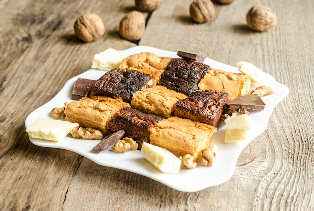 Brownies e blondies Foto Premium