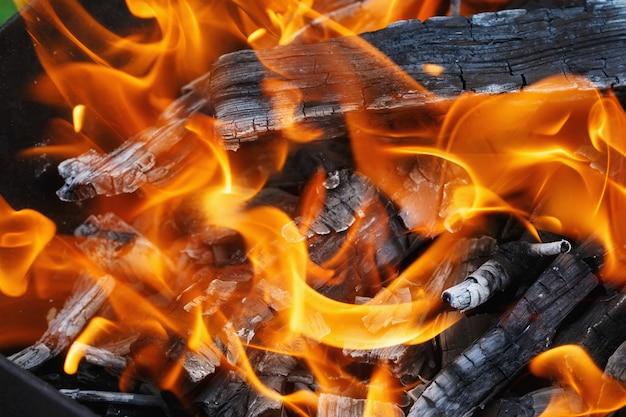 Bruciare legna in un braciere. fuoco, fiamme. grill o barbecue Foto Premium