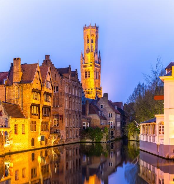 Bruges, belgio tramonto Foto Premium