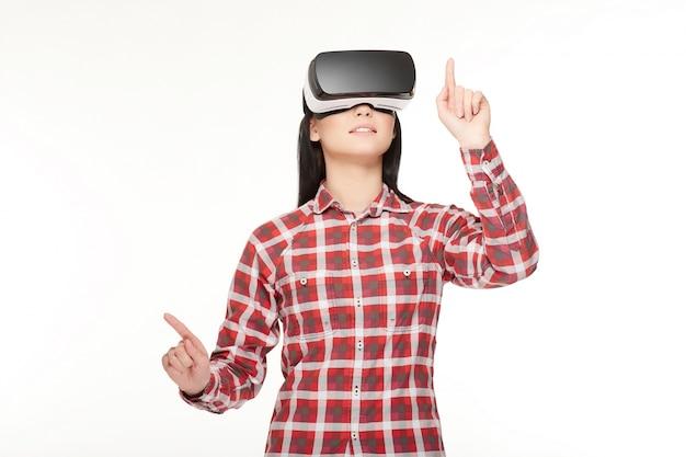 Brunette studio virtuale persona emozione Foto Premium