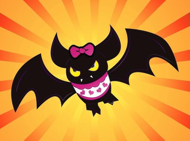 Buffo pipistrello femmina cuore cartone animato