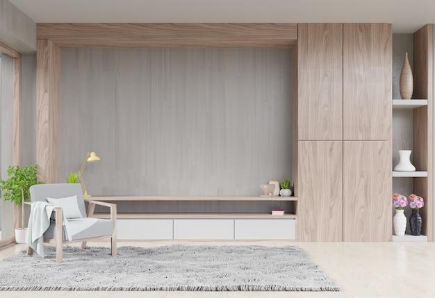 Cabinet tv in salotto moderno con decorazione e poltrona sul muro di cemento in legno Foto Premium