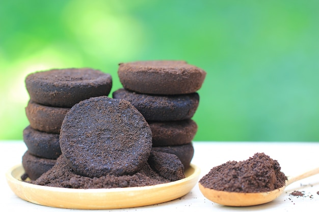 Caffè macinato, il residuo di caffè viene applicato all'albero ed è un fertilizzante naturale Foto Premium