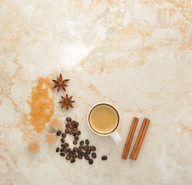 Caffè, zucchero di canna, anice speziato e cannella Foto Premium