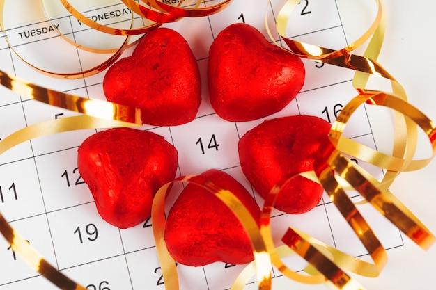 Calendario con data di san valentino Foto Premium