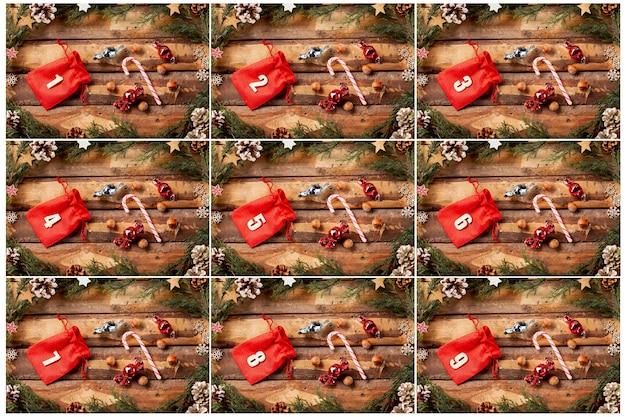 Calendario dell'avvento colorato con numeri su Foto Gratuite