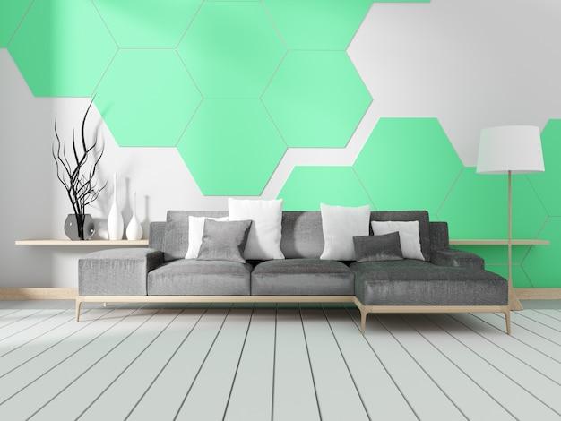 Camera con divano e parete di piastrelle esagonali di menta