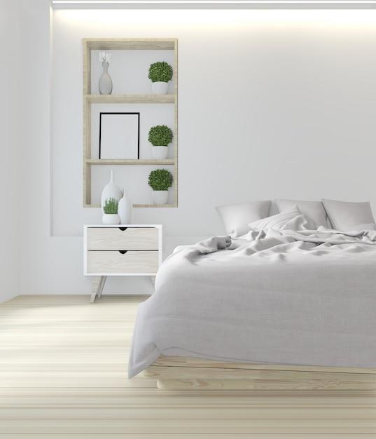 Camera da letto bianca dal design giapponese Foto Premium