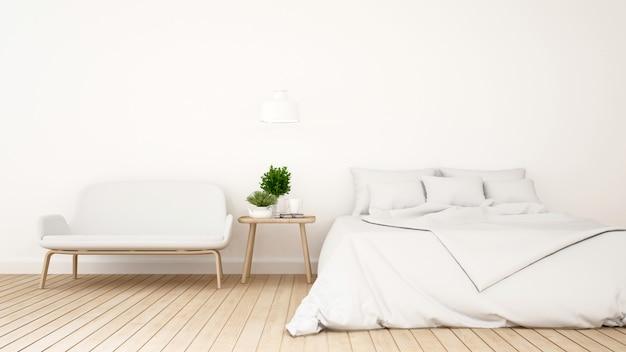 Camera da letto bianca o guestroom per la progettazione minima dell'hotel - rappresentazione 3d Foto Premium