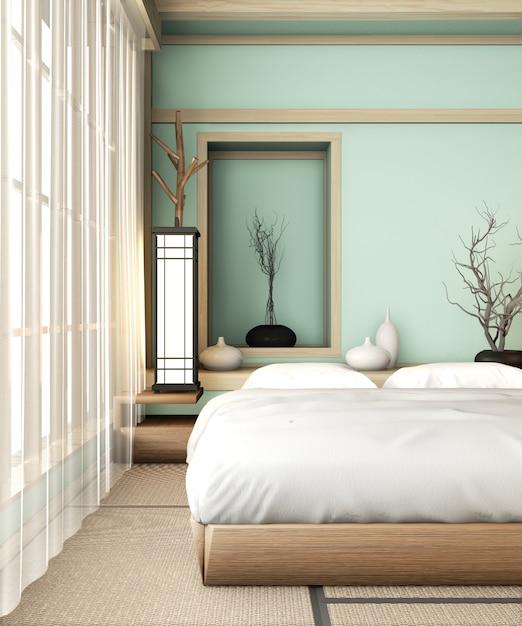 Camera da letto blu chiaro ryokan in stile molto giapponese con pavimento e decorazione in tatami. rendering 3d Foto Premium