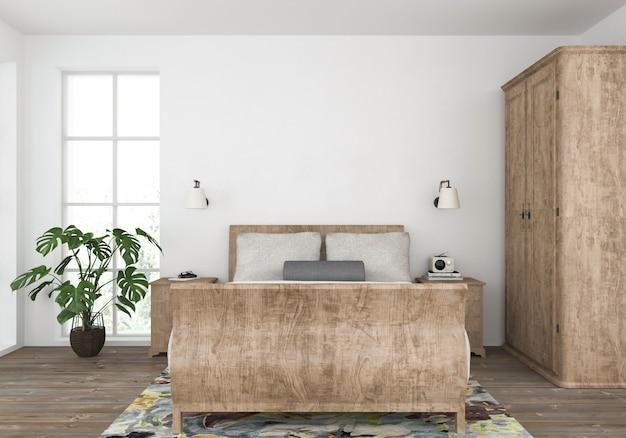 Camera da letto del paese con parete vuota, esposizione di opere d'arte Foto Premium