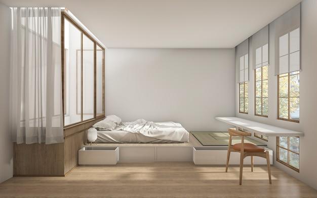 Camera da letto di stile giapponese della rappresentazione 3d con decorazione minima Foto Premium