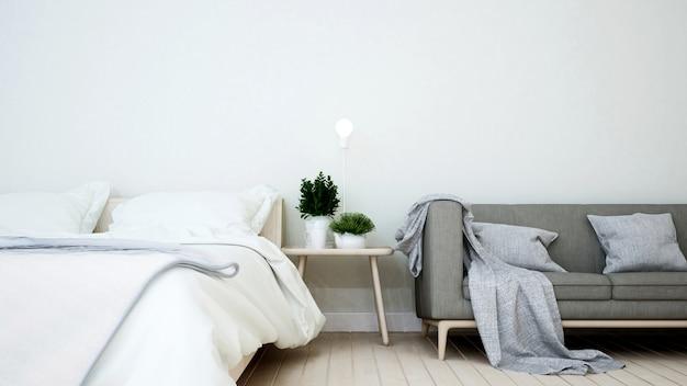 Camera da letto e soggiorno in casa o appartamento Foto Premium