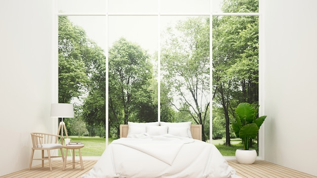 Camera da letto e zona giorno con vista sulla natura - camera da letto in casa o apa Foto Premium