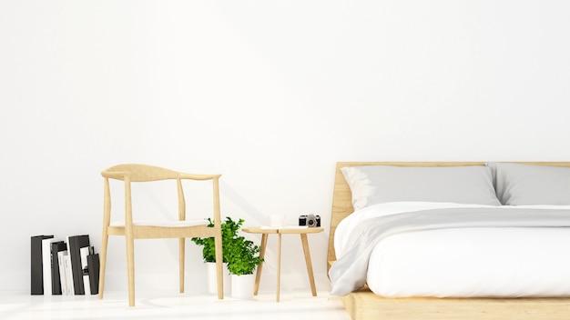 Camera da letto e zona relax in appartamento o hotel - interior design - rendering 3d Foto Premium