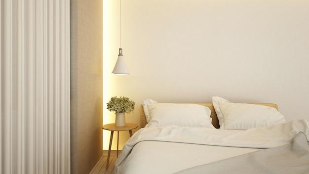 Camera da letto in hotel o appartamento - rendering 3d Foto Premium