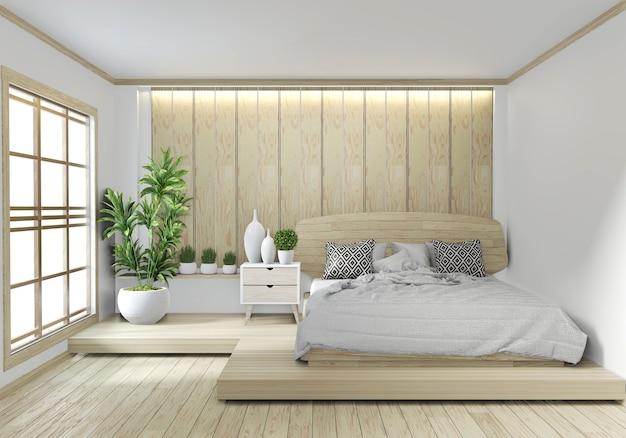 Camera da letto in legno hotel zen giapponese design con luce hiden su sfondo bianco muro Foto Premium