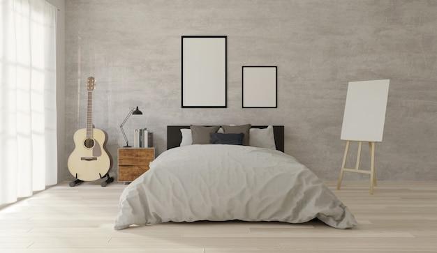 Camera da letto in stile loft con cemento, pavimento in legno ...