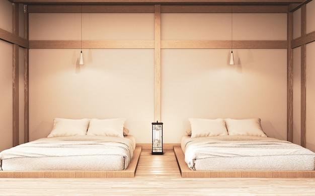 Camera da letto moderna di lusso in stile zen mock up, progettando la più bella. rendering 3d Foto Premium