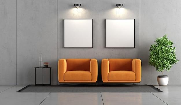 Camera in cemento con due poltrone arancioni Foto Premium