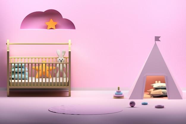 Camera per bambini con wigwam rosa Foto Premium