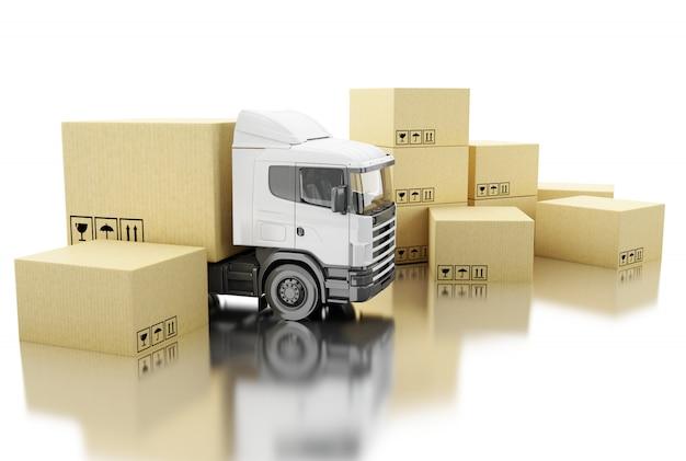 Camion 3d con scatole di cartone. Foto Premium