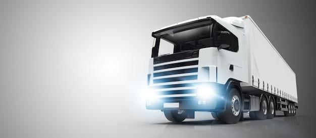 Camion bianco su uno sfondo grigio Foto Premium