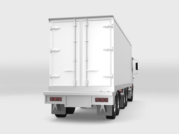 Camion carico bianco su sfondo bianco Foto Premium