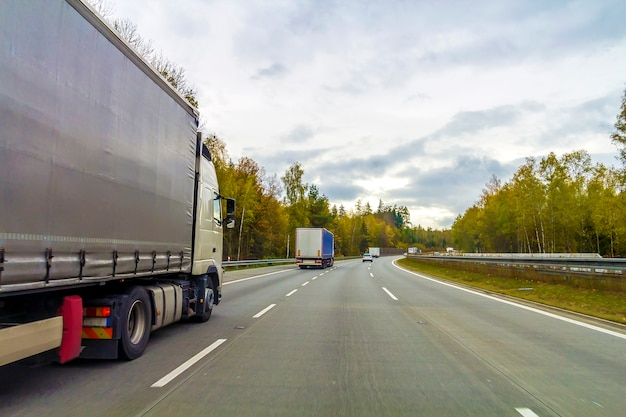 Camion sulla strada dell'autostrada senza pedaggio, concetto del trasporto del carico Foto Premium