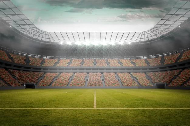 Campo da calcio nel grande stadio Foto Premium