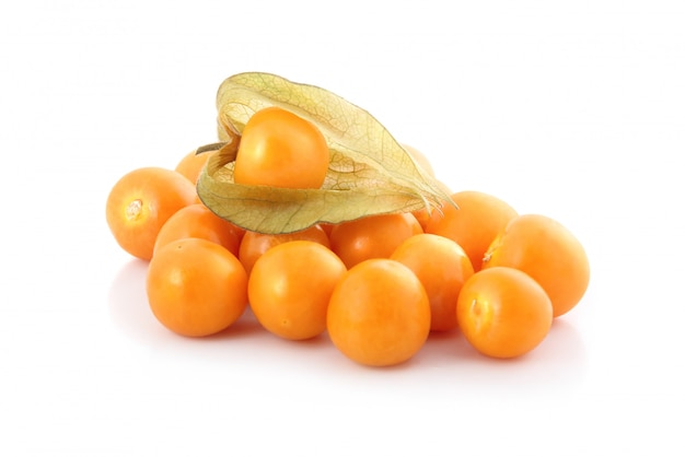 Cape gooseberry (physalis) isolato Foto Premium