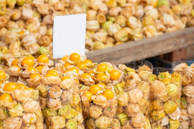 Cape gus berry nel mercato, cape gus berry background Foto Gratuite