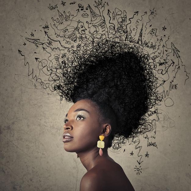 Capelli afro alla moda estremi Foto Premium