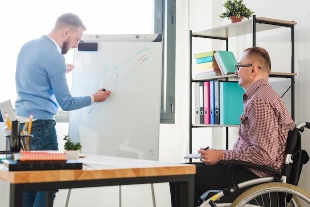 Capo che presenta il progetto al lavoratore disabile Foto Gratuite