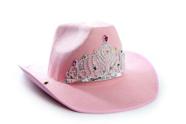 Cappello della corona del cowgirl rosa della ragazza dei bambini Foto Premium