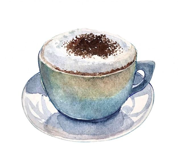 Cappuccino dell'acquerello tazza di caffè con panna montata su di esso Foto Premium