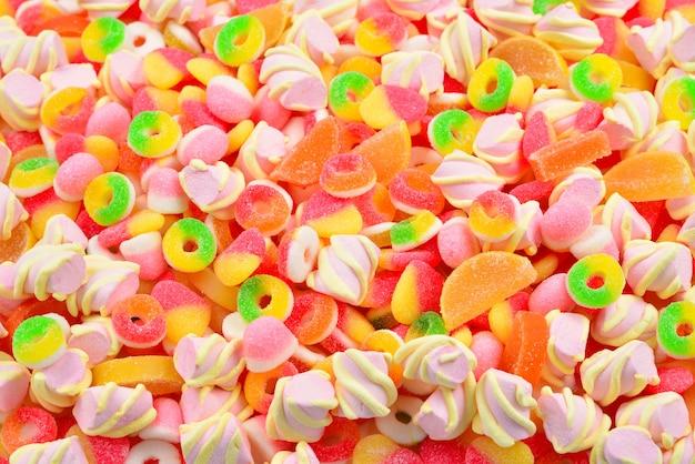 Caramelle gommose assortite. vista dall'alto. Foto Premium