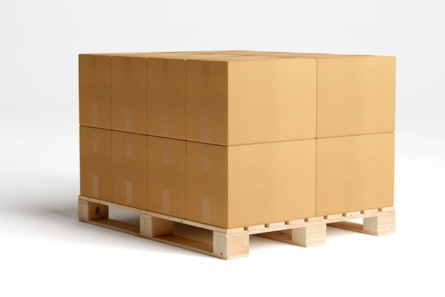 Carboxes isolati su un pallet di legno Foto Premium