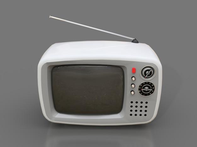 Carino vecchia tv bianca con antenna Foto Premium