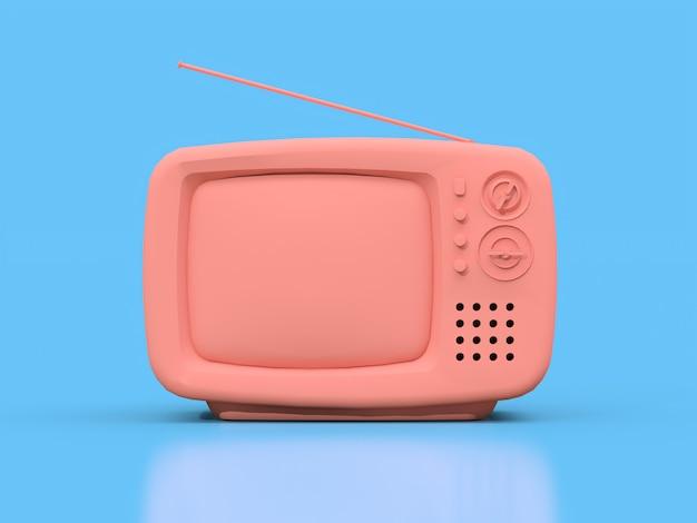 Carino vecchia tv rosa con antenna Foto Premium
