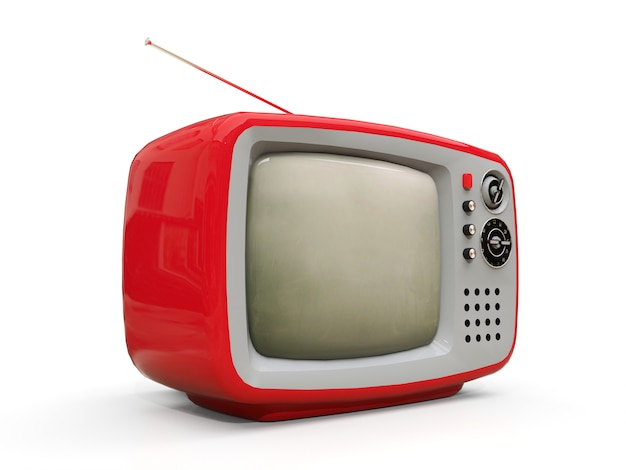 Carino vecchia tv rossa con antenna. rendering 3d. Foto Premium