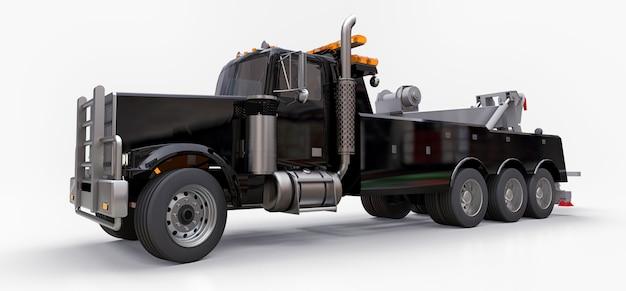 Carro attrezzi nero per il trasporto di altri grandi camion o vari macchinari pesanti Foto Premium