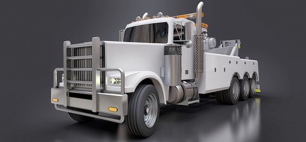 Carro attrezzi per il trasporto di merci bianche per il trasporto di altri grandi camion o vari macchinari pesanti Foto Premium
