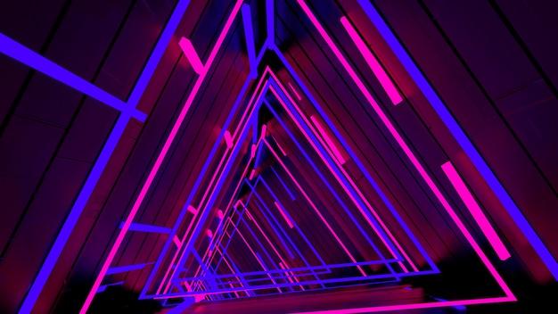 Carta da parati running in neon light triangle tunnel in scena di festa retrò e alla moda. Foto Premium