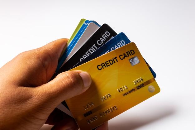 Carte di credito su bianco Foto Premium